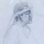 画家の青山幸代さんにライブ中の肖像画を描いてもらいました